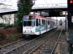dsw-21-dortmund/140868/ein-stadtbahnwagen-b-der-dortmunder-stadtwerke Ein Stadtbahnwagen B der Dortmunder Stadtwerke fährt am 19.12.2008 auf dem Weg nach Aplerbeck gleich in die Haltestelle Kohlgartenstraße ein.